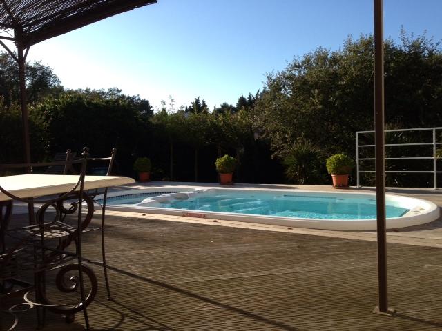 Terrasse en bois et spa piscine miroir et am nagement de for Mini piscine miroir
